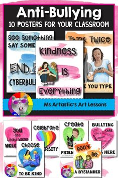 Promote kindness and anti-bullying awareness in your classroom with these 10 posters! Perfect for Anti-bullying awareness, Pink Shirt Day, or Kindness Month activities at your school or in your classroom. These posters can be used to encourage kindness, d Back To School Art, Too Cool For School, School Stuff, Animal Art Projects, Toddler Art Projects, Art Classroom, Classroom Organization, Classroom Ideas, School Resources