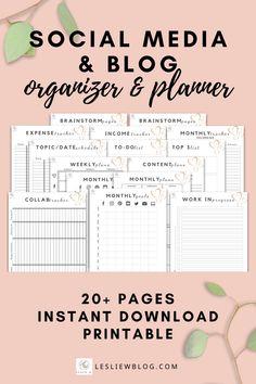 Blog Planner Printable, Planner Ideas, Calendar Printable, Organizer Planner, Planner Organization, Social Media Calendar, Marketing Ideas, Media Marketing, Digital Marketing