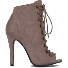 AKIRA Black Label Lace Up Peep Toe Jordan Booties - Taupe Suede ($55) ❤ liked on Polyvore featuring shoes, boots, ankle booties, heels, ankle boots, taupe suede, high heel boots, open toe lace up booties, lace-up booties and open toe heel booties