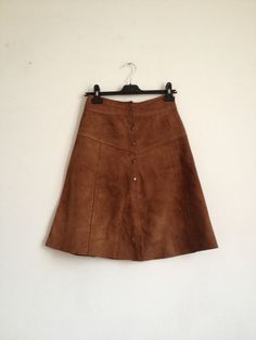 Vintage 70's Suede Skirt/ Brown Suede Skirt/ A-Line by Tukvintage
