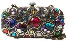 "Price: $305.00 | Mary Frances Kaleidoscope Jewel Tones Convertible #Clutch #Handbag | W x D x H: 7"" x 2"" x 4"","