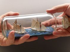 My Ship in Bottle model of Schooners Pioneer and Lettie G Howard. The real schooners are owned and sailed by the South Street Seaport Museum in New York and I have sailed in each of them. This is another Jersey City Frankie model. Boat In A Bottle, Ship In Bottle, Bottle Art, Bottle Crafts, Wooden Crafts, Wooden Toys, Build Your Own Boat, Ghost Ship, New York Museums