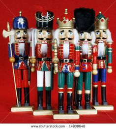 Five Holiday Nutcrackers With Red Background Stock Photo 14938648 ...
