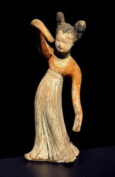 Clay figure of a dancing girl from the 8th century (Tang dynasty)