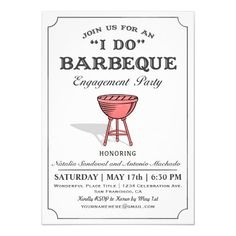 Shop I DO BBQ Wedding Reception Invitations created by ZebraPress. Personalize it with photos & text or purchase as is! Wedding Reception Invitations, Couples Shower Invitations, Rehearsal Dinner Invitations, Engagement Party Invitations, Rehearsal Dinners, Wedding Rehearsal, Reception Ideas, Invites, Engagement Parties