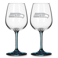 $29.99 Seahawks wine glasses!!! Perfect for some game day Belgian beer or morning game mimosas!!