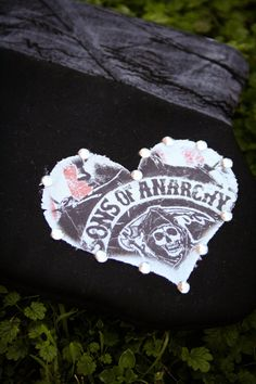 Sons Of Anarchy Jax Frayed Heart with Rhinestones Clutch - OOAK