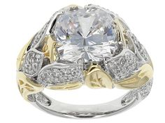Bella Luce (R) 8.95ctw Amkor Cut & Round Rhodium Over Sterling Silver & Yellow Gold Eterno (Tm) Ring