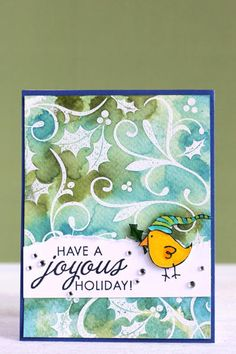 Card. Inspired by Jennifer McGuire - great watercolor resist background.