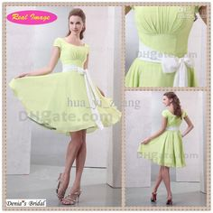 Wholesale Beautiful Light Green Square Neckline Bridesmaid Dress for Young Girl Short Sleeve Chiffon HX56, Free shipping, $76.3-94.4/Piece | DHgate