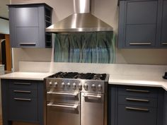 Splashback in Bluegrass from our Grasses series, on display in John Lewis Solihull Splashback, Grasses, John Lewis, Kitchen Cabinets, Display, Collection, Home Decor, Floor Space, Lawn