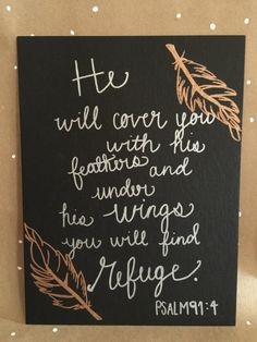 He will cover you with his feathers...quote on canvas. Bible scripture Hand written. Etsy. Etsy shop. Gifts. Home decor. Canvas. Flat edge canvas. Black. Bible verse. Scripture.