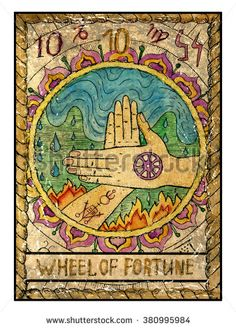 Wheel of fortune.  Full colorful deck, major arcana. The old tarot card, vintage hand drawn engraved illustration with mystic symbols. Two crossed hands against water and fire background - stock photo
