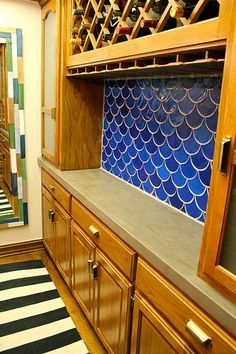 A fish scale back splash made with acrylics and sculpty clay