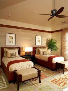 Kuikawa 4 twin room - asian - bedroom - hawaii - Willman Interiors / Gina Willman, ASID/ I love the wall treatments with the moldings. Retro Bedrooms, Guest Bedrooms, Bedroom Suites, Master Bedrooms, Contemporary Bedroom, Modern Bedroom, Warm Bedroom, Bedroom Furniture, Bedroom Decor
