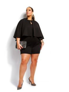 """Safiya"" Cape Romper -Black - What's New - Monif C Why does this have to be a romper?!?!?!?!!!!! It's so cute!"