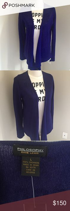 Large Cashmere Open Front Cardigan Super cute open front cardigan- Philosophy by Dane Lewis. Purchased at Nordstrom - never worn. Size Large. Generous fit! Longer in front, super slimming! Color is French Purple which is more a dark royal blue shade. NWT Philosophy Sweaters Cardigans