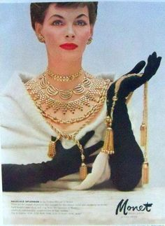 How glamorous is the Monet vintage jewelry ad from We think this will be our inspiration for the next girl's night out! Jewelry Ads, Jade Jewelry, Boho Jewelry, Custom Jewelry, Antique Jewelry, Vintage Jewelry, Jewelry Accessories, Fashion Jewelry, 1950s Jewelry