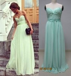 Custom made mint green chiffon prom dress floor length long bridesmaid dress on Etsy, kr 850,00