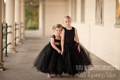 BLACK FLOWER GIRL TUTU DRESS w/ GOLD SEQUIN SASH - Made in classic black, this full and fluffy tulle dress is pure elegance and charm and