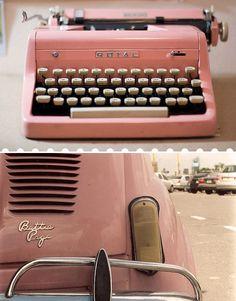 Vintage Pink - love the typewriter. Pretty In Pink, Pink Love, Pale Pink, Look Vintage, Vintage Pink, Vintage Party, My Favorite Color, My Favorite Things, Deco Rose
