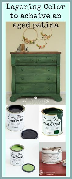 Using Annie Sloan Graphite, Antibes, and Amsterdam Green. Chalk Paint breathing life into worn out furniture.
