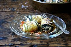 Zucchini Involtini with Swiss Chard & Ricotta [per headnotes, my filling had fresh corn polenta, ribbons of lightly stir fried beet greens, & a little mozzerela. Used eggplant & zucchini for wrappers, had a hard time cutting them to equal lengths. Had with sage tomato sauce and herbed turkey burgers. SO MANY STEPS. In future, will make filling and sauce ahead to reduce prep time when assembling. Good!]
