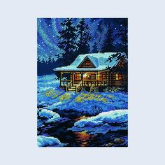 Moonlit Cabin - Dimensions counted cross stitch kit