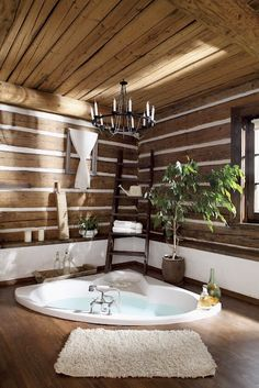 and Spacious Country House Surrounded by Lush Vegetation and Green Environment Beautiful home spa!Beautiful home spa! Log Cabin Bathrooms, Dream Bathrooms, Beautiful Bathrooms, Interior Tropical, Deco Cool, Bathroom Spa, Bathroom Ideas, Wooden Bathroom, Spa Tub