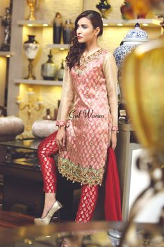 Pakistani Designer Dresses - Lowest Prices - Cut Work Semi formal Dress by Gul Warun - Dresses - Latest Pakistani Fashion