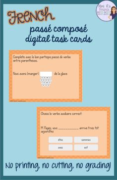 These cards are a perfect review for students who have learned the passé composé with avoir and être. You'll get a mix of multiple choice and short answer cards using regular and irregular verbs conjugated with avoir and être. There are cards to practice gender agreeement and formation of negative sentences. Click here to see more! Teaching Resources, Teaching Materials, Classroom Resources, Teaching Ideas, High School French, Core French, Irregular Verbs, French Resources, Interactive Learning