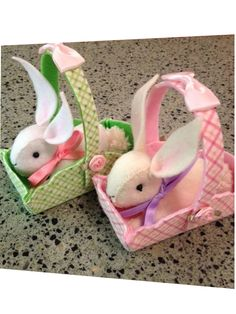 Felt bunny with red rose white handmade posable artist rabbit felt bunnies in baskets i made these for my granddaughters easter gifts negle Choice Image