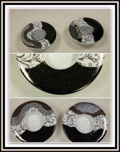 Deux bougeoirs ronds noir et platine