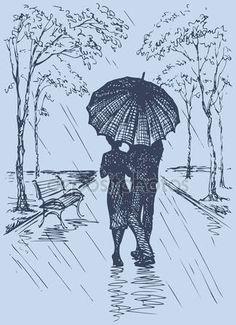 Baixar - Cena romântica de vetor. casal com guarda-chuva andando no parque — Ilustração de Stock #37821035
