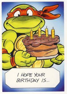 Free Printable Ninja Birthday Cards   Michaelangelo Birthday Greeting Card - Ninja Turtles - TMNT