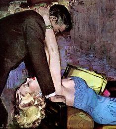 "Alex Ross artwork accompanied a story titled ""Shanghai Affair"" in Cosmopolitan magazine in April 1951."