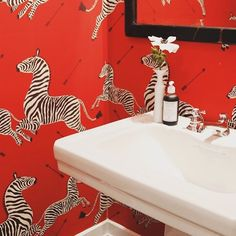 Funnnnn!! Would you be brave enough to coat the bathroom walls in this? We  it! #wallpaper  #thebathroomfiles #zebra #animalwallpaper #powderroom #design #interiordesign #vanity #tapware #bathroomideas #bathroominspo #inspiration #love #bright #colorful #colortheory #red #animalkingdom (RG: @apothekeco) by thebathroomfiles Bathroom designs.