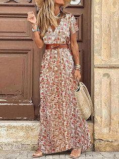 Long Sleeve Short Dress, Maxi Dress With Sleeves, Short Sleeves, Cap Sleeves, Maxi Floral, Floral Dresses, Look Retro, Vacation Dresses, Vacation Style