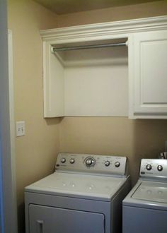 Hanging bar in laundry area