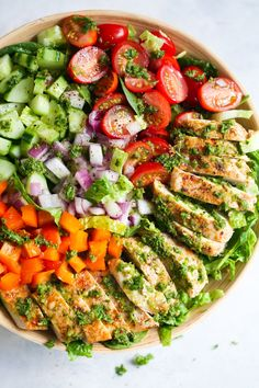 Paleo meals 437130707582443235 - This fresh Chimichurri Chicken Chopped Salad is loaded with lettuces, cherry tomatoes, cucumber, bell pepper, red onions and grilled chicken. It's a complete meal to enjoy this summer! Source by misspradaa Chimichurri Chicken, Recipes With Chimichurri Sauce, Clean Eating, Healthy Eating, Healthy Salad Recipes, Avocado Recipes, Soup And Salad, Cherry Tomatoes, Chicken Recipes