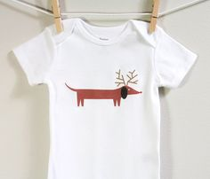Christmas baby onesie dachshund Long or by squarepaisleydesign, $13.00