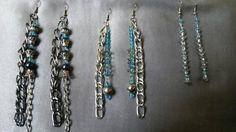 Brincos com correntes e cristais