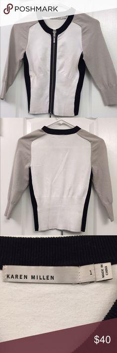 Cotton knit so cardigan Comfortable basic zip front cardigan by Karen Millen. Karen Millen Sweaters Cardigans