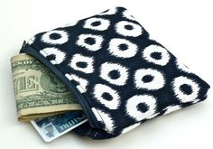 Coin Purse/Zippered Pouch in Blue and White Ikat by nangatesdesigns, #Gemstones| http://gemstonesgaston.blogspot.com