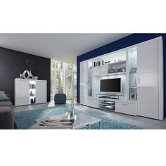 Roma entertainment unit in white with high gloss fronts and led, is a modern solution for the display of flat screen TV's and media systems - 37408 living room furniture sets & packages clearance, grey & white. Contemporary Living Room Furniture, Living Room Modern, Tv Wall Design, Door Design, Star Lights On Ceiling, Living Room Tv Unit Designs, Living Room Entertainment Center, Led Furniture, Living Room Sets