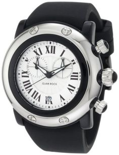 Glam Rock Women's GW25129 Miami Beach Chronograph Silver Dial Black Silicone Watch Glam Rock. $154.74. French quartz movement. Water-resistant to 100 m (330 feet). Silver textured dial with black hands and roman numerals; luminous; black composite bezel; stainless steel crown and pushers with black cabochon. Chronograph functions with 60 second and 30 minute subdials; date function. Mineral crystal; black composite case with stainless steel cover; black silicone strap
