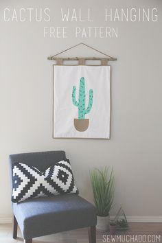 Cactus Wall Hanging Tutorial and FREE Pattern! #cactus #succulent #freepattern #sewmuchado #pdfpattern #sewingpattern #sewing #wallhanging #quilt #cactusdecor #southwesterndecor