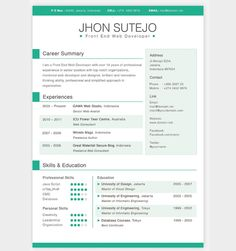 Interesting Resume Templates Awesome One Page Resume Sample For Freshers  Career  Pinterest