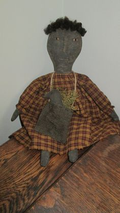 Primitive Black Doll with Crow by Bettesbabies on Etsy, $39.00
