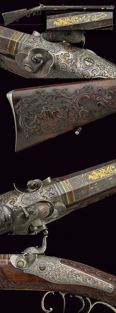A superb percussion gun by Geschkat in Danzig.    provenance: Northern Germany dating: mid-19th Century.